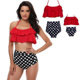 Matching Swimwear Mother & Daughter Red Polka - dresslikemommy.com
