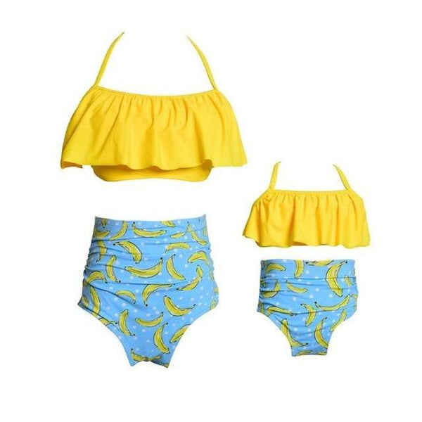 Matching Swimwear Mother & Daughter Yellow Blue - dresslikemommy.com