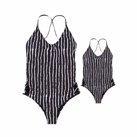 Mom And Daughter Striped Swimsuit-Swimsuits-dresslikemommy.com