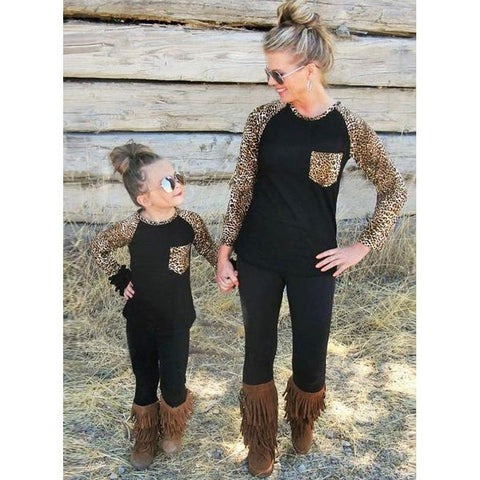 Mom & Baby Leopard Long Sleeve T-shirt-Tops-dresslikemommy.com