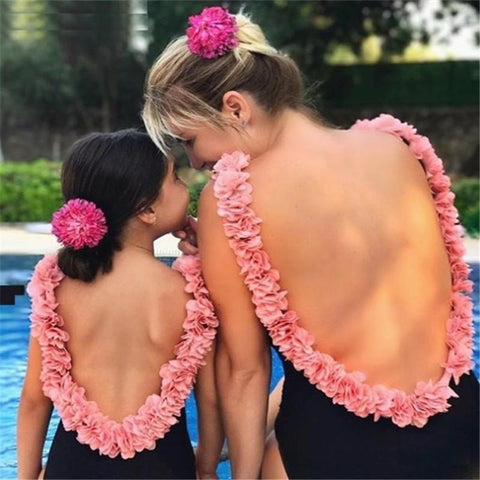 Mom Girl Flower Decorated Matching Swimwear-Swimsuits-dresslikemommy.com