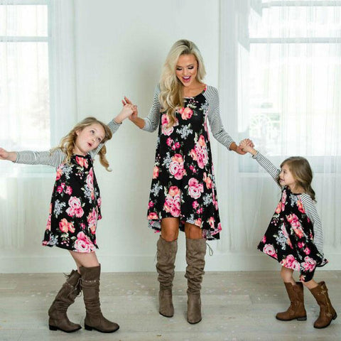 Mom Girl Flower Prints Stripes - dresslikemommy.com