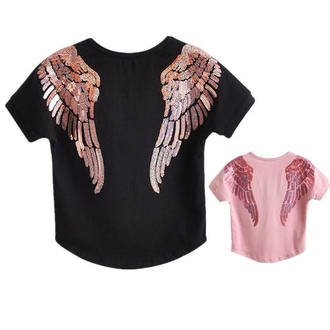 Mommy & Me Angel Wing Embroidery T-shirt-Tops-dresslikemommy.com