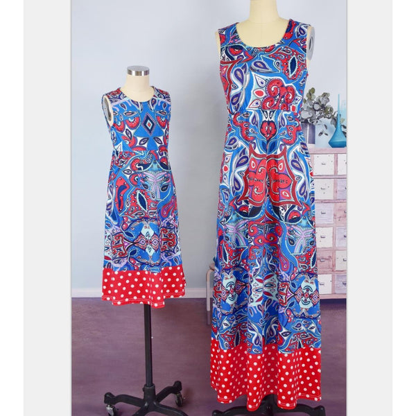 Mommy & Me Bohemian Floral Retro Printed Dress-Dresses-dresslikemommy.com