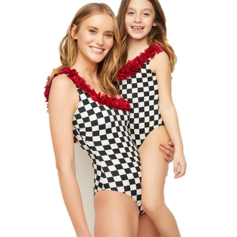 Mommy & Me Checkered One-piece Swimsuit-Swimsuits-dresslikemommy.com