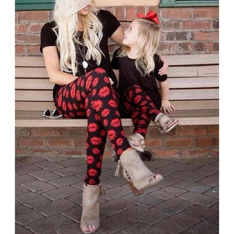 Mommy & Me Kisses Yoga Leggings-Bottoms-dresslikemommy.com