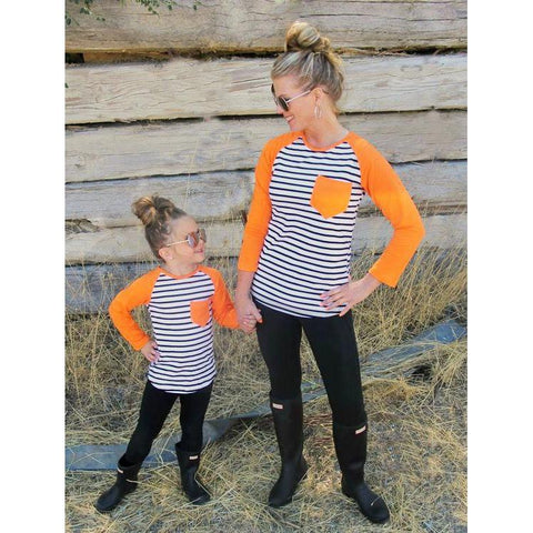 Mommy & Me Long Sleeve Patchwork T-shirts-Tops-dresslikemommy.com