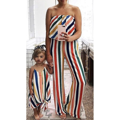 Mommy & Me Rainbow Stripe Jumpsuit-Dresses-dresslikemommy.com