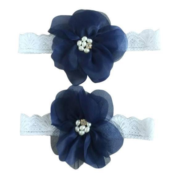 Mommy & Me Vintage Lace Headband Blue Set - dresslikemommy.com