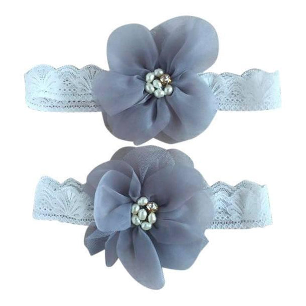 Mommy & Me Vintage Lace Headband Gray Set - dresslikemommy.com