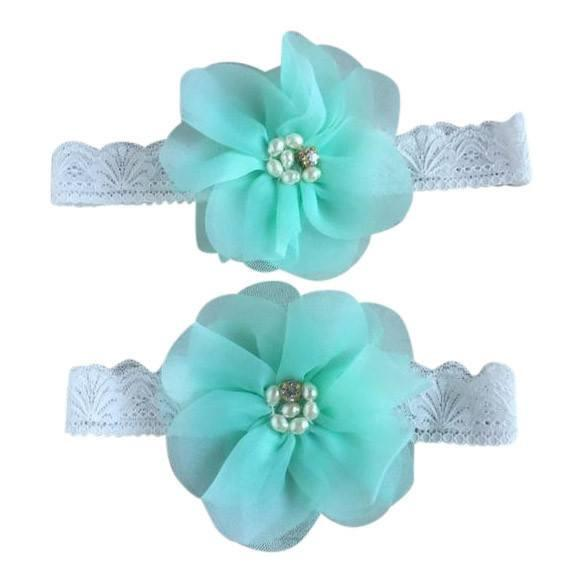 Mommy & Me Vintage Lace Headband Light Blue Set - dresslikemommy.com