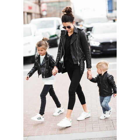 Mother and daughter faux leather jacket-Coats-dresslikemommy.com
