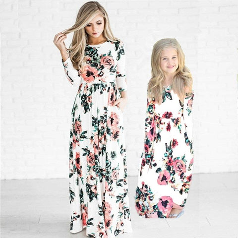 Mother and Daughter Floral Long Dress-Dresses-dresslikemommy.com