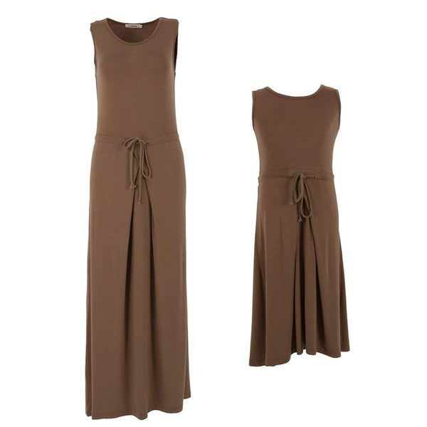 Mother And Daughter Sleeveless Long Dress With Belt - dresslikemommy.com
