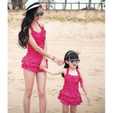Mother and Girl Dot One-piece Swim Set-Swimsuits-dresslikemommy.com