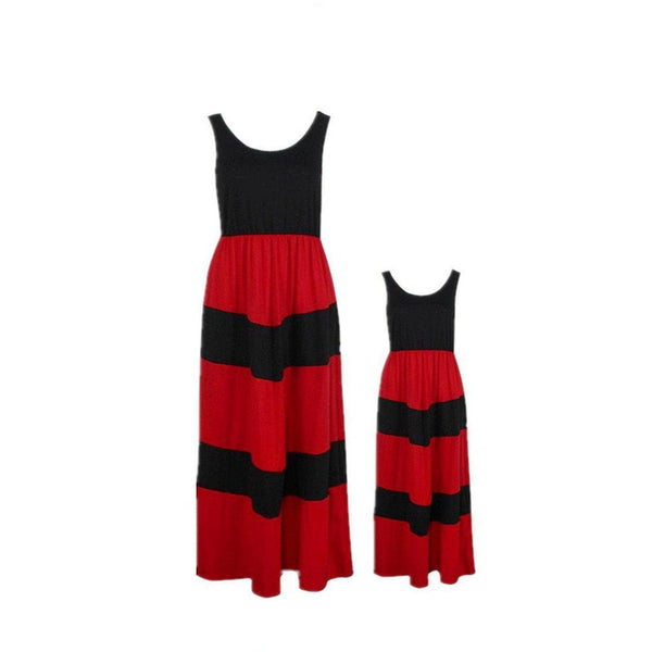 Mother Daughter Black Red Matching Maxi Dress - dresslikemommy.com