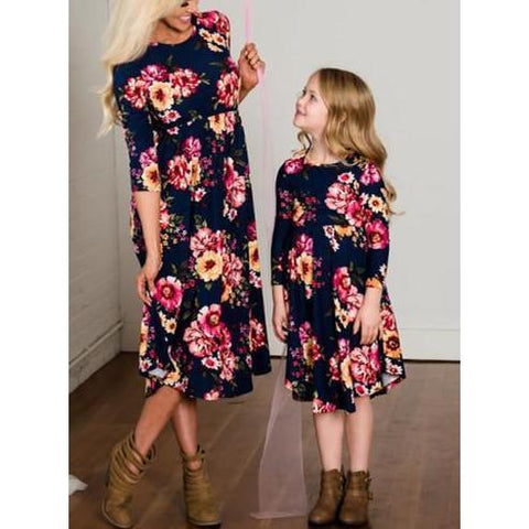 Mother & Daughter Blue Floral Maxi Dress-Dresses-dresslikemommy.com