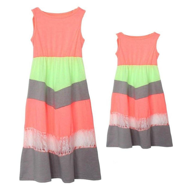 Mother Daughter Lace Stripe Stitching Maxi Dress - dresslikemommy.com