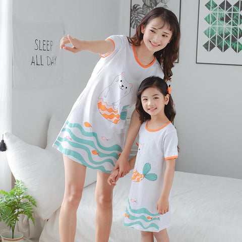 Mother Daughter Matching Cat Pajamas-Pajamas-dresslikemommy.com
