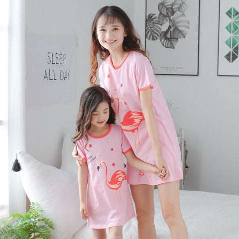 Mother Daughter Matching Flamingo Pajamas-Pajamas-dresslikemommy.com