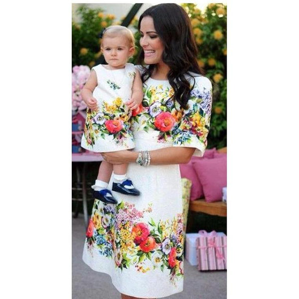Mother & Daughter Matching Flower Dress-Dresses-dresslikemommy.com