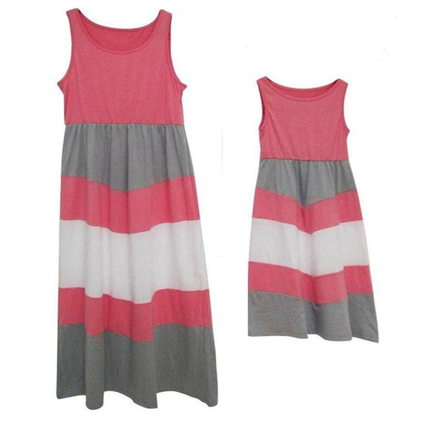 Mother Daughter Matching Pink Gray White Striped Dress - dresslikemommy.com