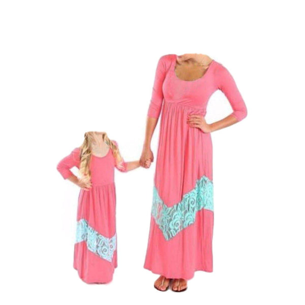 Mother Daughter Matching Pink White Maxi Dress - dresslikemommy.com