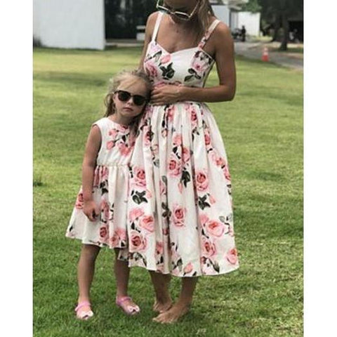 Mother Daughter Strap Floral Knee-Length Dress - dresslikemommy.com