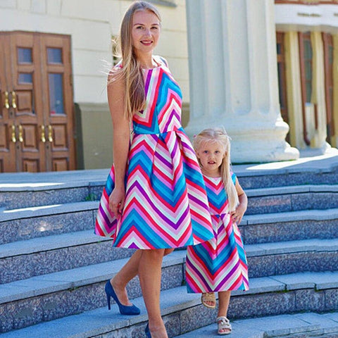 Mother Daughter Stripe Holiday Dress-Dresses-dresslikemommy.com
