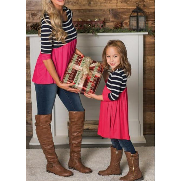 Mother & Daughter Striped Stitching T-Shirt-Tops-dresslikemommy.com