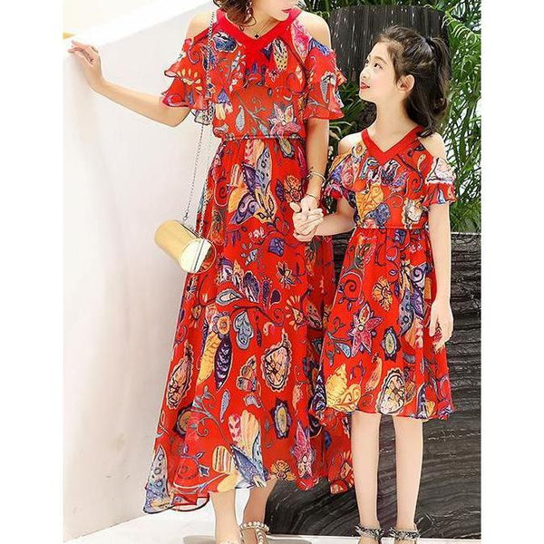 Mother & Me Chiffon Floral Long Dress - dresslikemommy.com