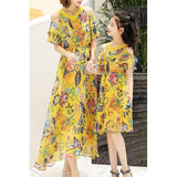 Mother & Me Chiffon Floral Long Dress-Dresses-dresslikemommy.com