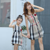 Plaid Sleeveless Dress Set Mom and Daughter - dresslikemommy.com