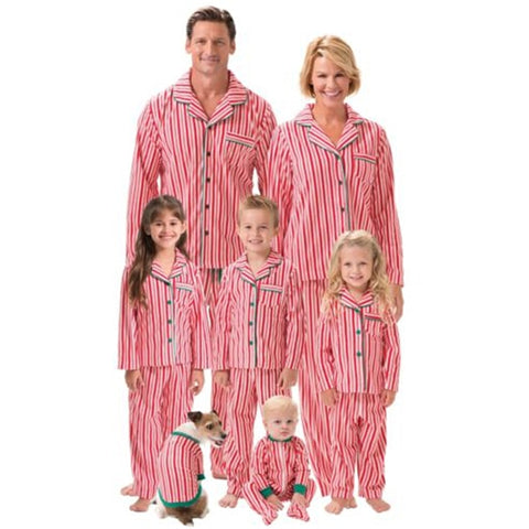 Fashion Family Striped Christmas Pajamas Set