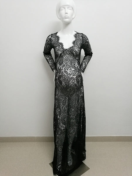 Lace Long Sleeve Maternity Photography Props Dresses For Pregnant Women - dresslikemommy.com