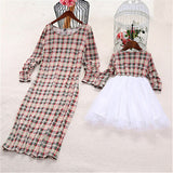 Matching Mother Daughter Long Sleeve Plaid Lace Patchwork Dress - dresslikemommy.com