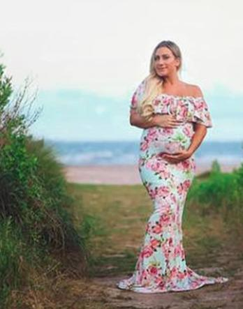 Maternity Ruffles Floral Print Maxi Dress Stretchy - dresslikemommy.com