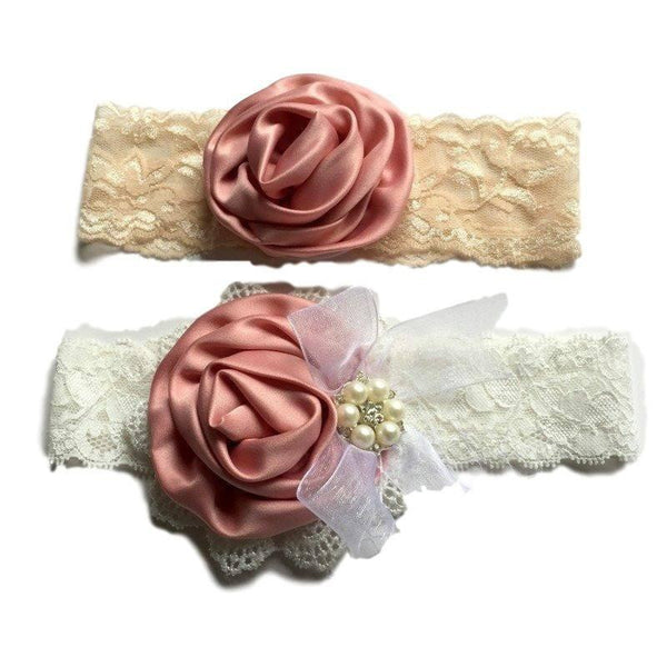 Satin Flower Matching Handmade Lace Headband Set - dresslikemommy.com