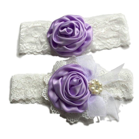Satin Flower Matching Handmade Lace Headband Set-Headbands-dresslikemommy.com