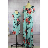 Summer Matching Floral Long Dress Mommy & Me-Dresses-dresslikemommy.com