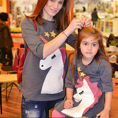 Unicorn T-Shirt Mother and Daughter-Tops-dresslikemommy.com