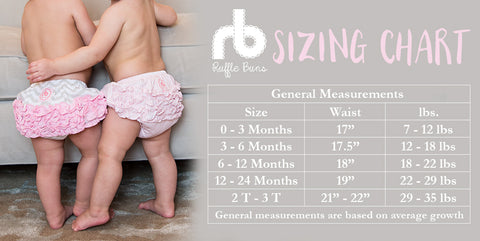 Diaper Cover for Girls by Ruffle Buns Size Chart | www.mylittlebabybug.com