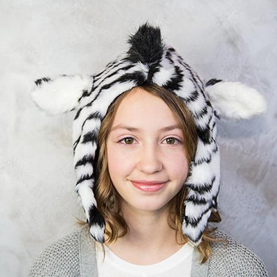 Zebra Faux Fur Hat for Kids & Adults by Eskimo Kids | www.mylittlebabybug.com