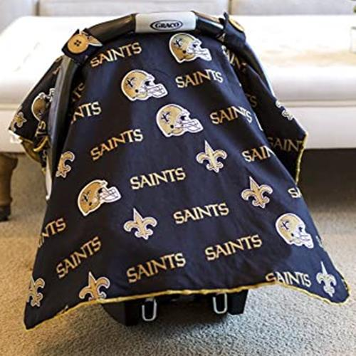 New Orleans Saints NFL Licensed Minky Car Seat Canopy by Canopy Couture | www.mylittlebabybug.com