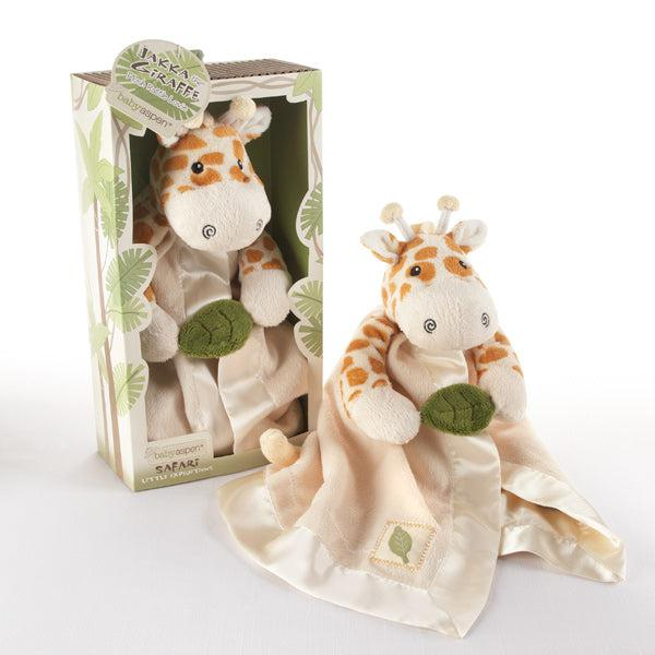 """Jakka the Giraffe"" Little Expeditions Plush Rattle Lovie with Crinkle Leaf-www.mylittlebabybug.com"