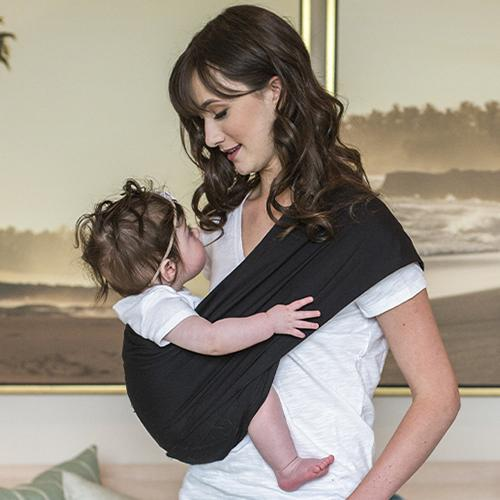 Black Everyday Baby Sling Pouch Carrier by Seven Baby - www.mylittlebabybug.com