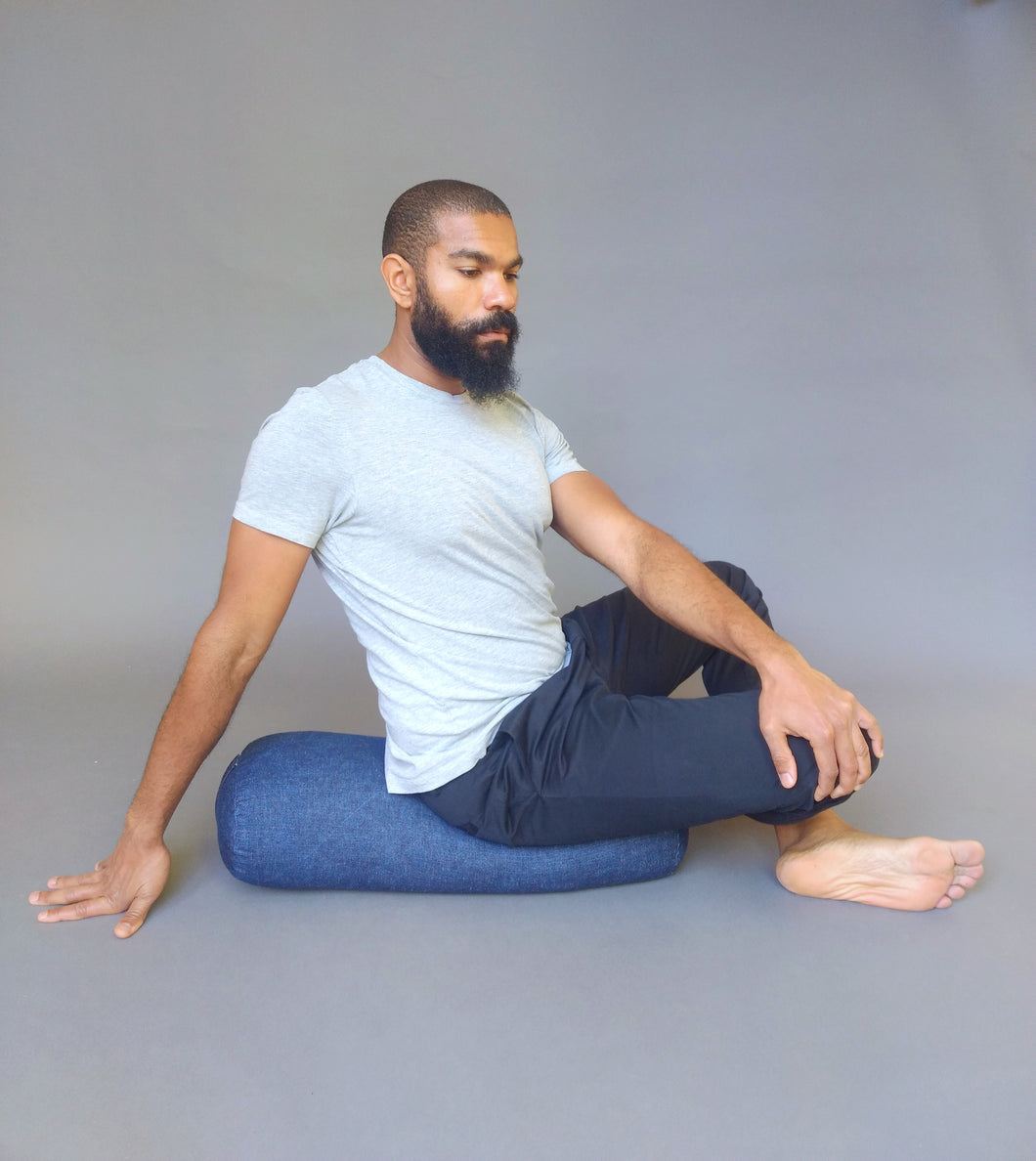 Organic Yoga Bolster- Denim
