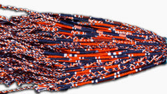 Round Custom Bracelets - (BN) - Navy Blue, Dark Orange, White