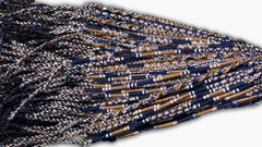Round Custom Bracelets - (BN) - Navy Blue, Tan, White