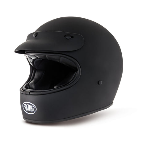 Premier Trophy Matte Balck With Peak Motorcycle Helmet